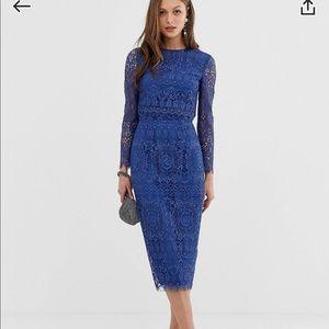 ASOS Blue Lace Midi Dress Size 4